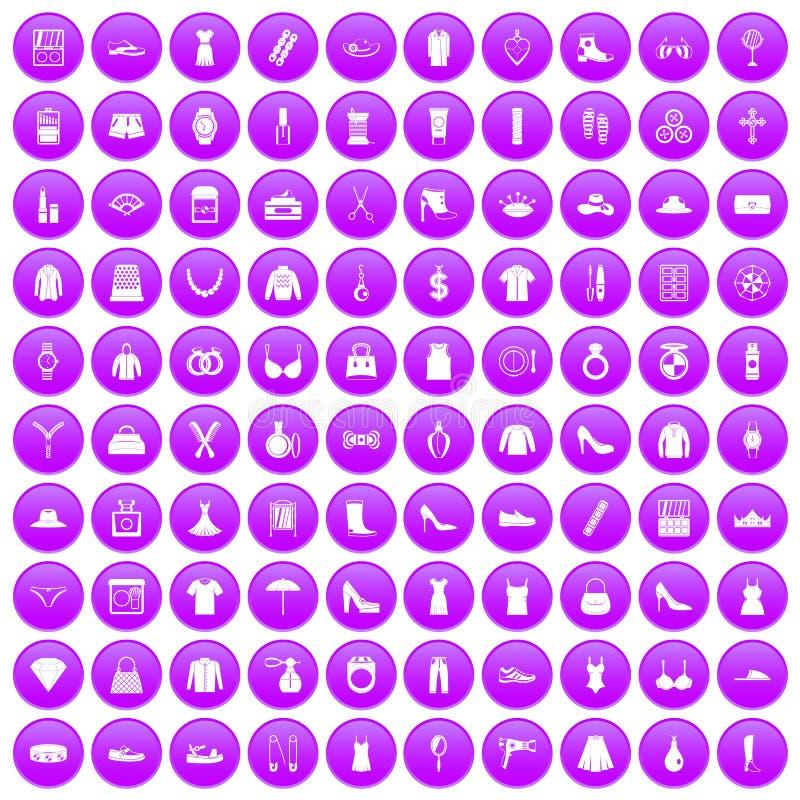 100 icone degli accessori delle donne messe porpora royalty illustrazione gratis