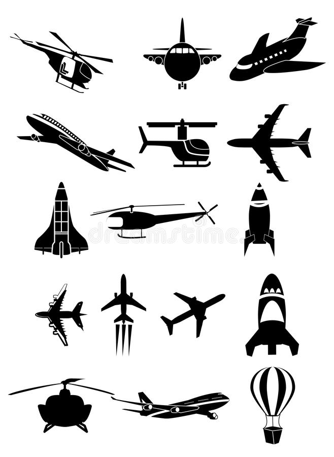 Icone degli aerei messe royalty illustrazione gratis