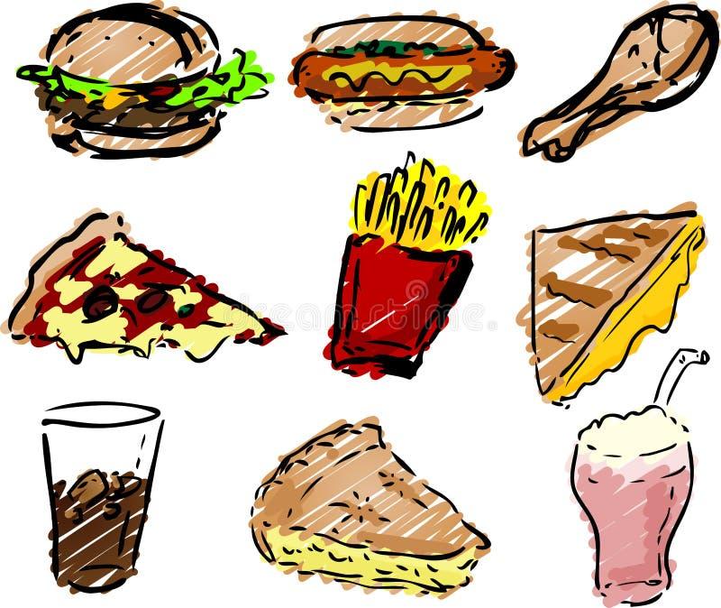 Icone degli alimenti a rapida preparazione illustrazione vettoriale