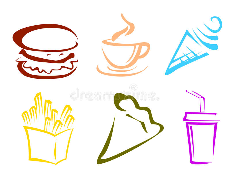 Icone degli alimenti a rapida preparazione illustrazione di stock