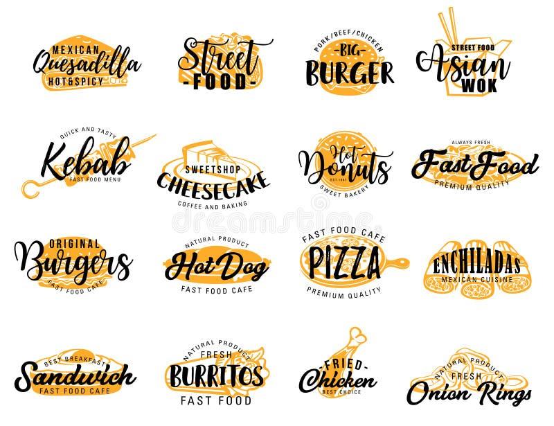 Icone degli alimenti a rapida preparazione e dello spuntino della via, segnanti royalty illustrazione gratis