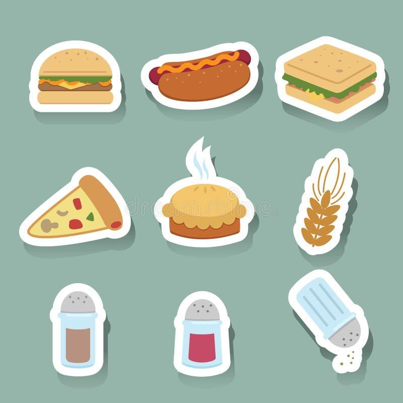 icone degli alimenti a rapida preparazione impostate illustrazione vettoriale