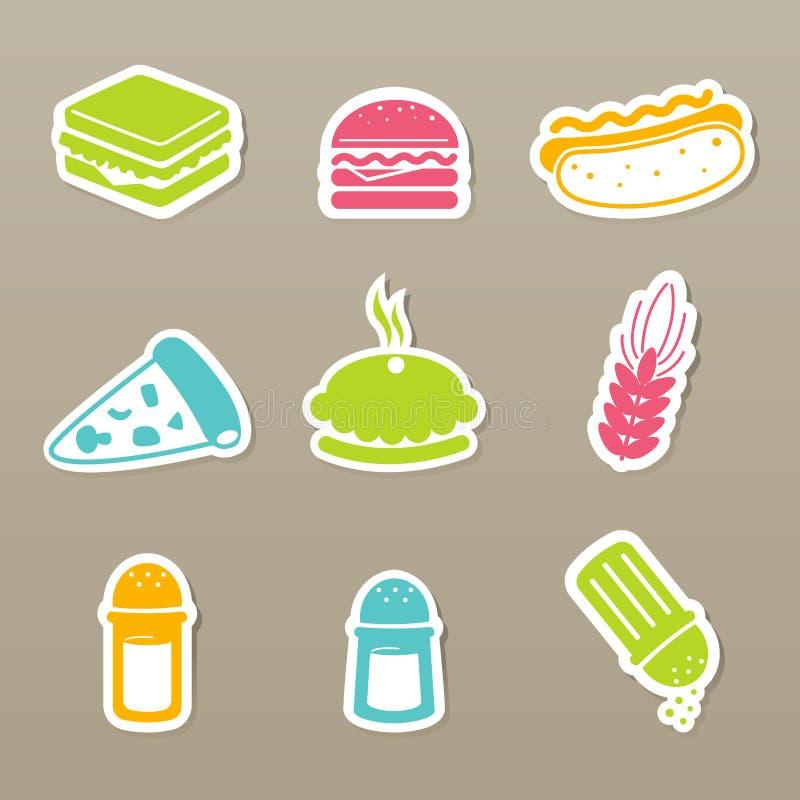icone degli alimenti a rapida preparazione impostate royalty illustrazione gratis