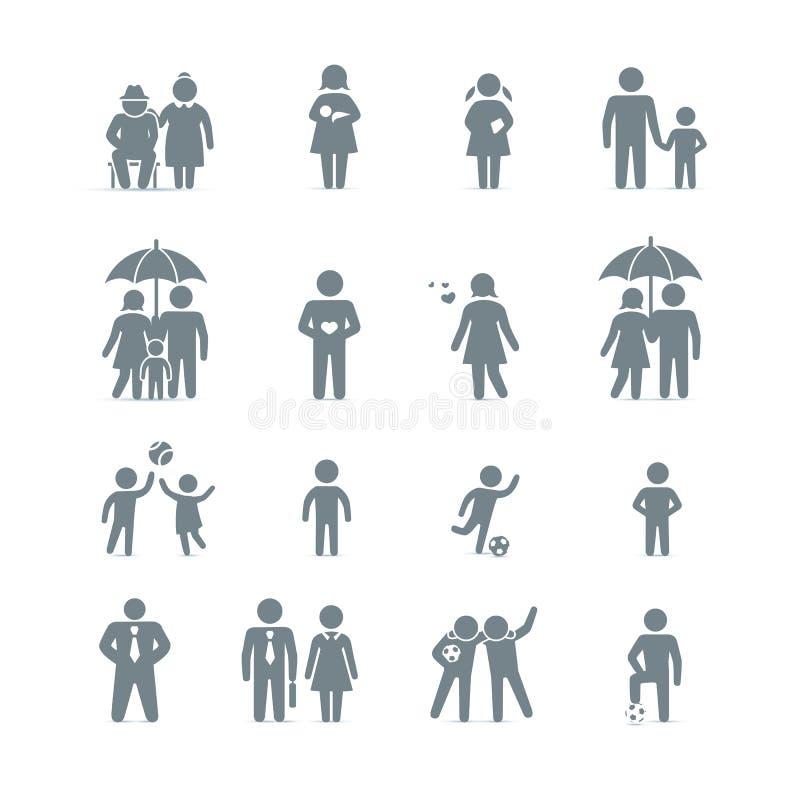 Icone degli amici e della famiglia illustrazione vettoriale
