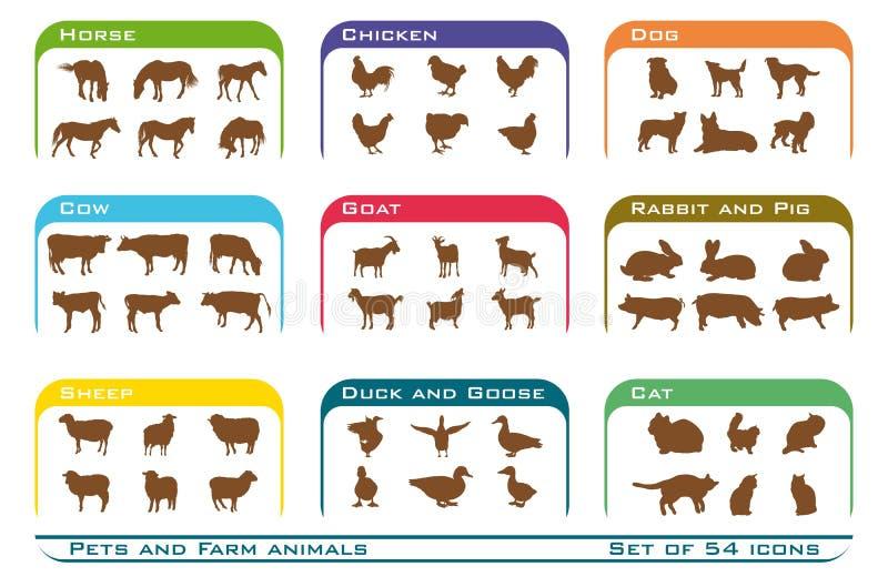 Icone degli animali da allevamento e degli animali domestici illustrazione vettoriale