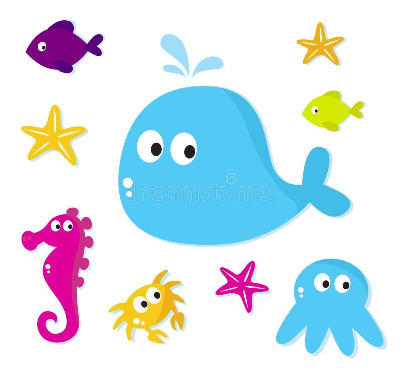 Icone degli animali di mare del fumetto isolate su bianco royalty illustrazione gratis