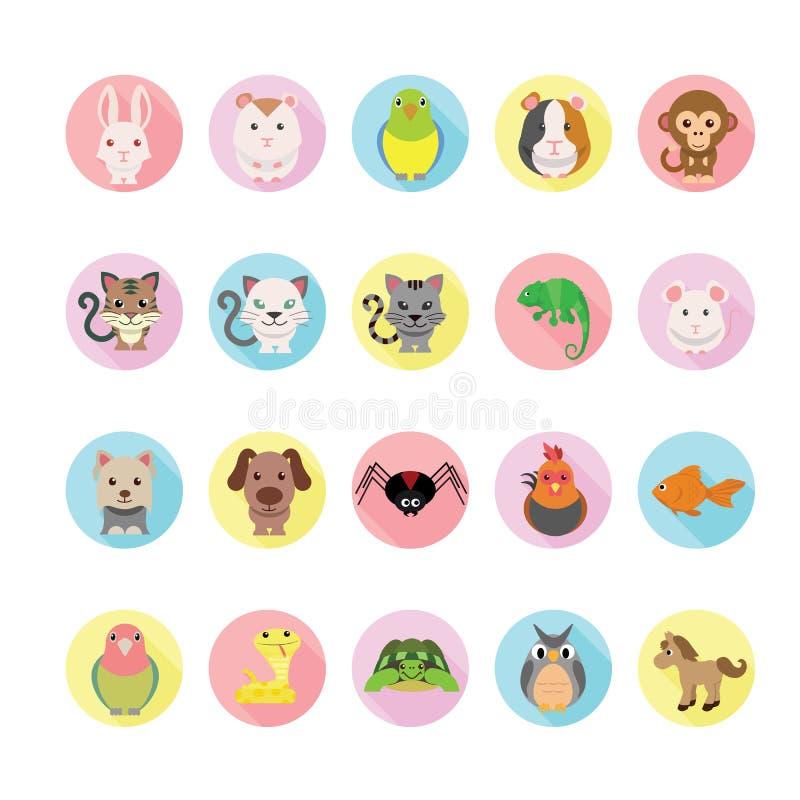 Icone degli animali domestici messe illustrazione di stock