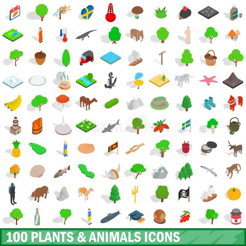 100 icone degli animali e delle piante hanno messo, stile isometrico royalty illustrazione gratis