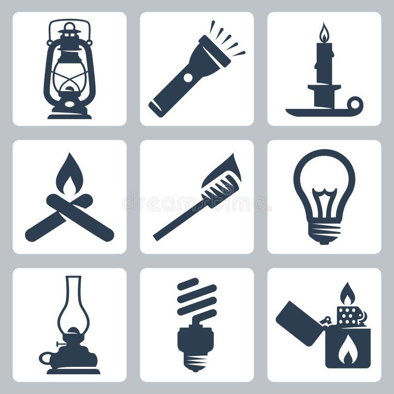 Icone degli apparecchi della luce e di illuminazione di vettore messe royalty illustrazione gratis