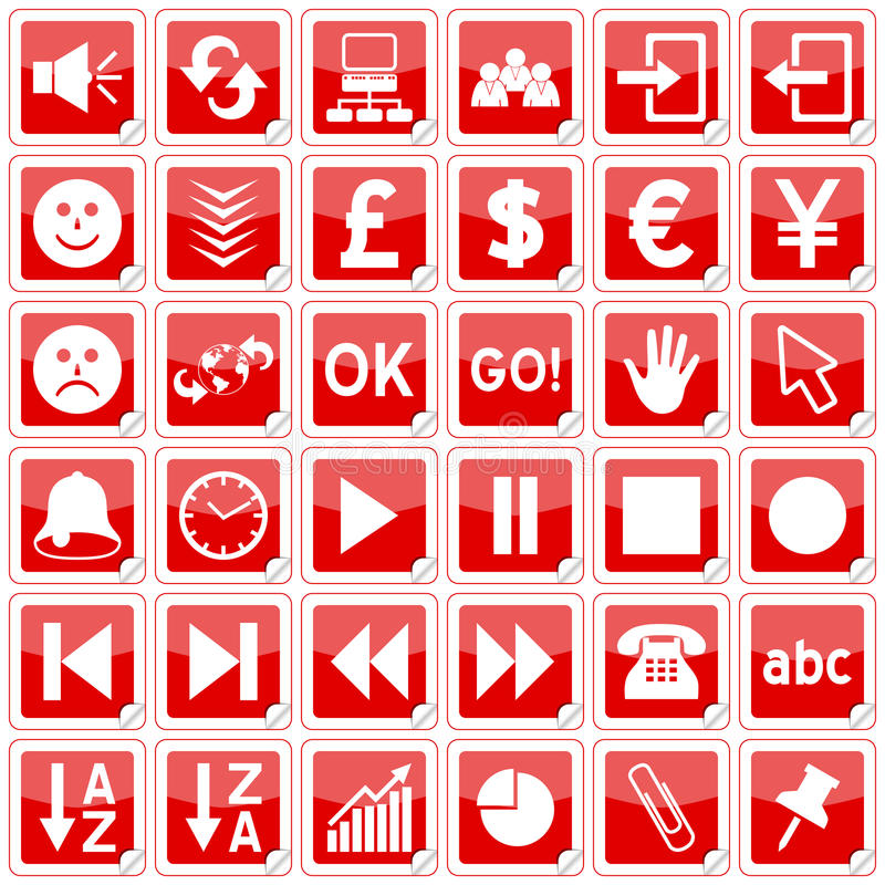 Icone degli autoadesivi del quadrato rosso [3] illustrazione di stock