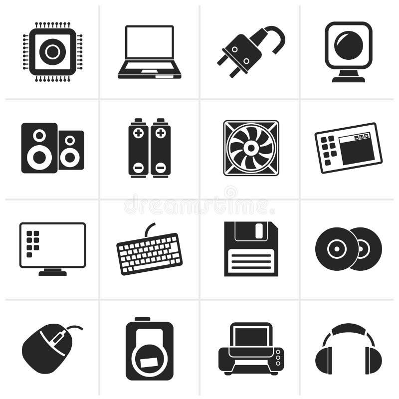 Icone degli elementi e degli accessori del computer della siluetta illustrazione di stock