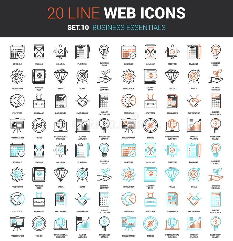 Icone degli elementi essenziali di affari illustrazione di stock