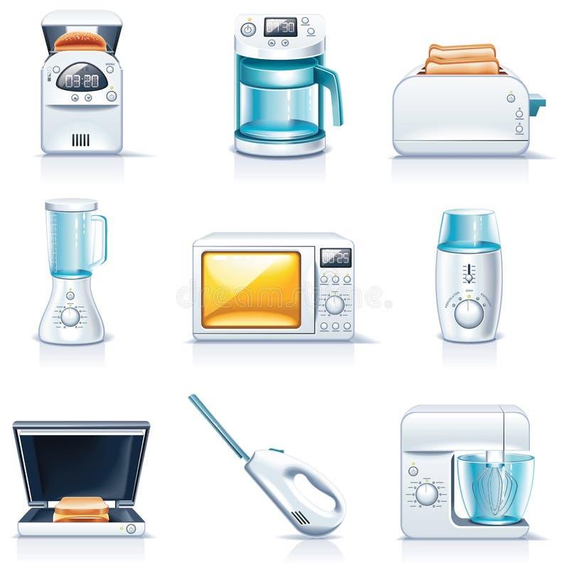 Icone degli elettrodomestici di vettore. Parte 1 illustrazione di stock