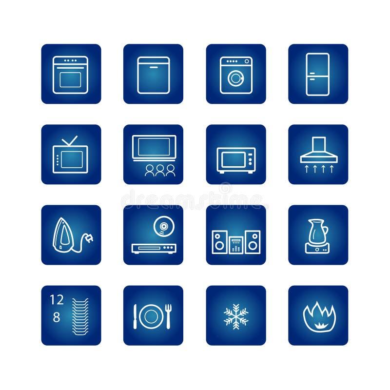 Icone degli elettrodomestici impostate illustrazione vettoriale