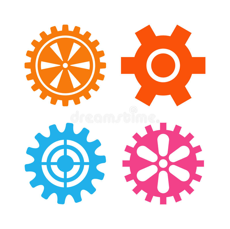 Icone degli ingranaggi di vettore messe illustrazione di stock