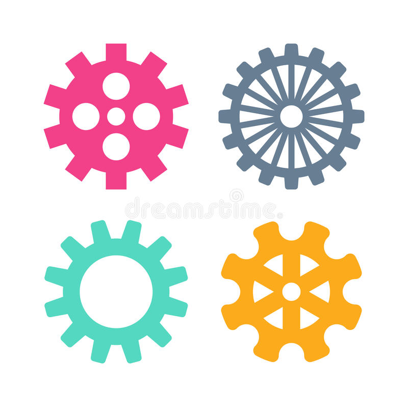 Icone degli ingranaggi di vettore messe illustrazione vettoriale