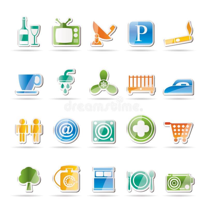 Icone degli oggetti del motel e dell'hotel royalty illustrazione gratis