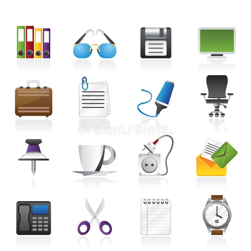Icone degli oggetti dell 39 ufficio e di affari illustrazione for Oggetti da ufficio