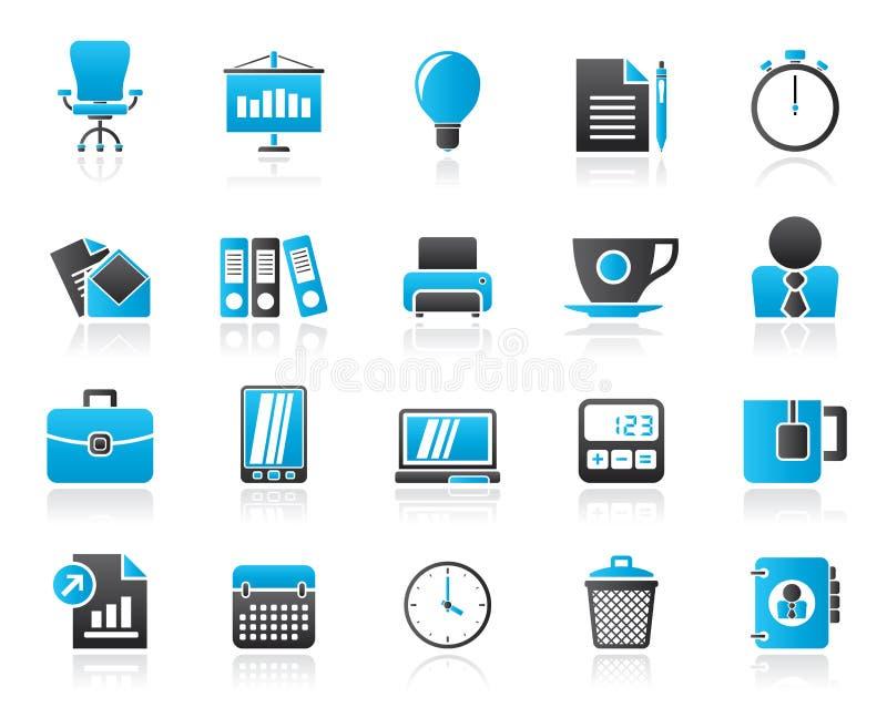 Icone degli oggetti dell'ufficio e di affari illustrazione vettoriale