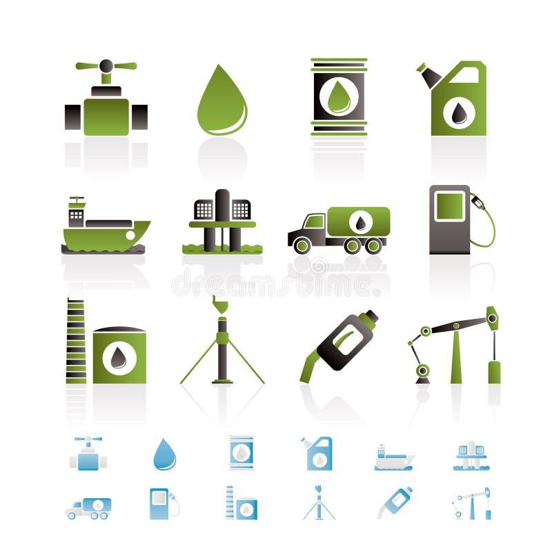 Icone degli oggetti di industria della benzina e del petrolio royalty illustrazione gratis