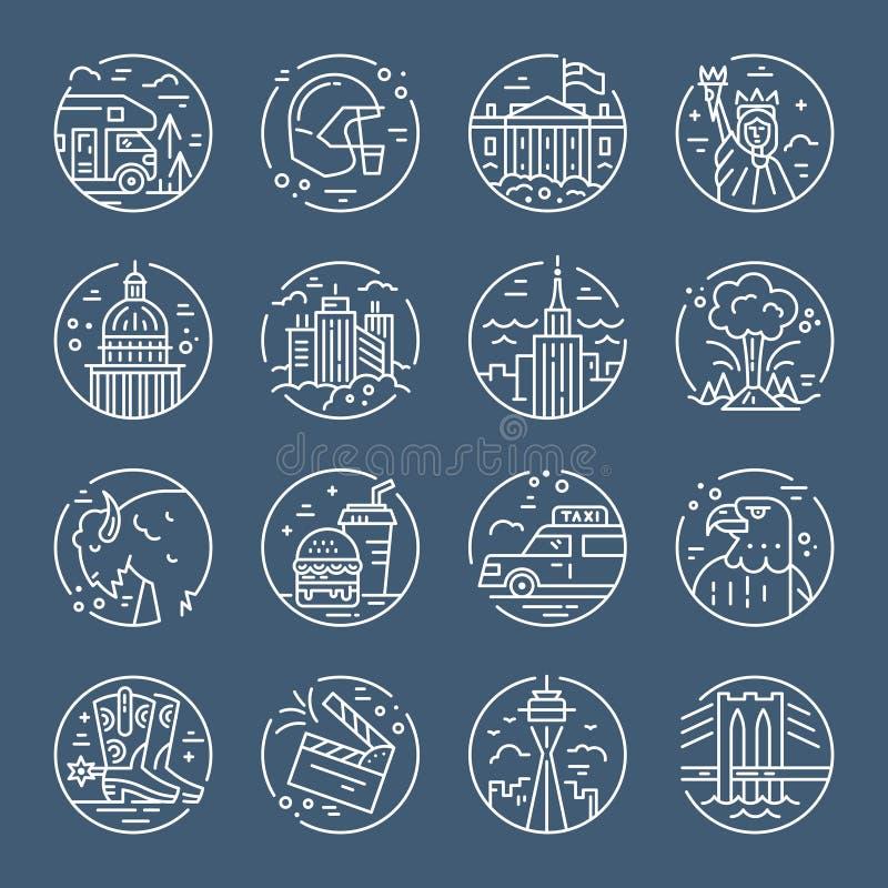 Icone degli Stati Uniti illustrazione di stock