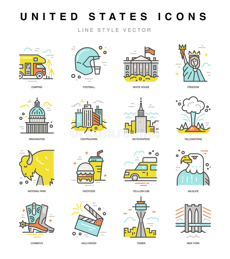 Icone degli Stati Uniti illustrazione vettoriale