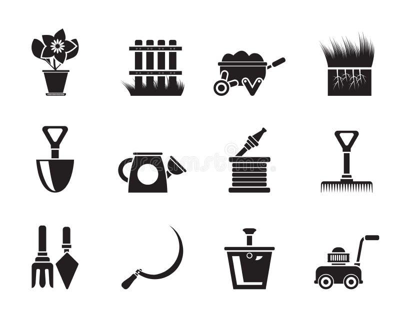Icone degli strumenti del giardino e di giardinaggio della siluetta illustrazione di stock