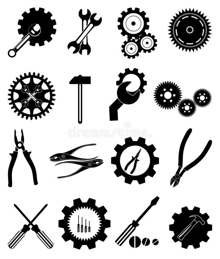 Icone degli strumenti dell'ingranaggio delle regolazioni messe illustrazione di stock