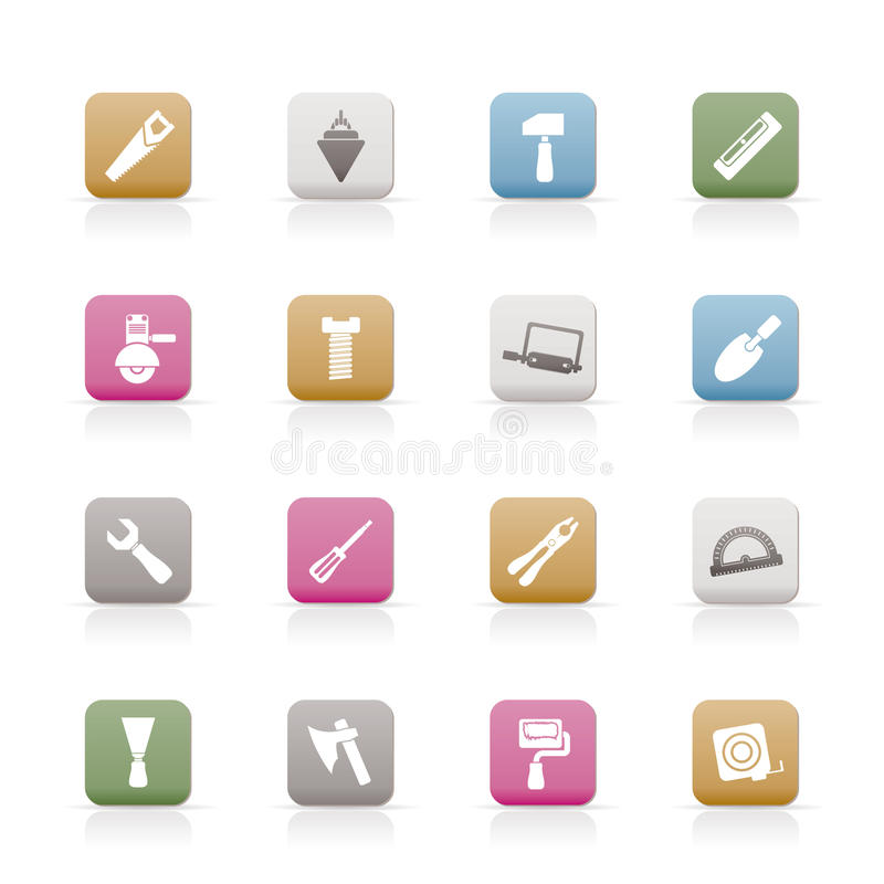 Icone degli strumenti della costruzione e dell'edificio illustrazione di stock