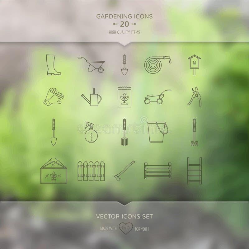 Icone degli strumenti di giardinaggio messe illustrazione di stock