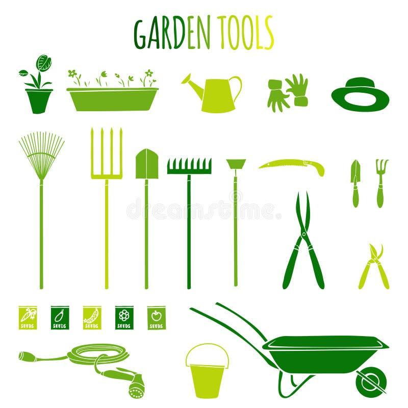 Icone degli strumenti di giardino messe royalty illustrazione gratis