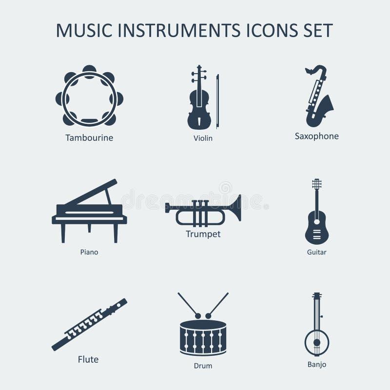 Icone degli strumenti di musica messe Vettore illustrazione di stock
