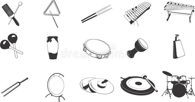 Icone degli strumenti di percussione illustrazione vettoriale