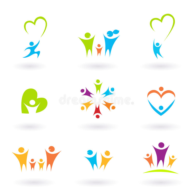 Icone dei bambini, della famiglia, della comunità e di protezione illustrazione vettoriale