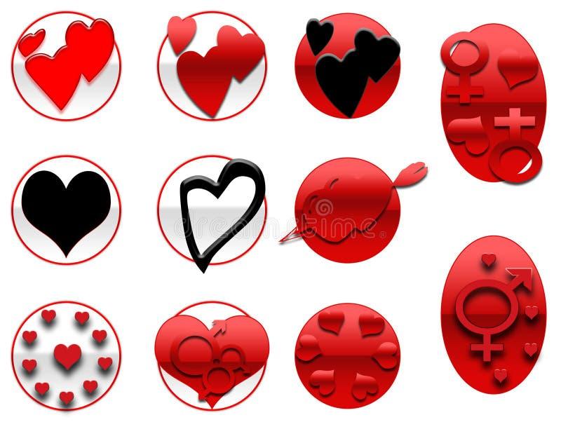 Icone dei biglietti di S. Valentino royalty illustrazione gratis