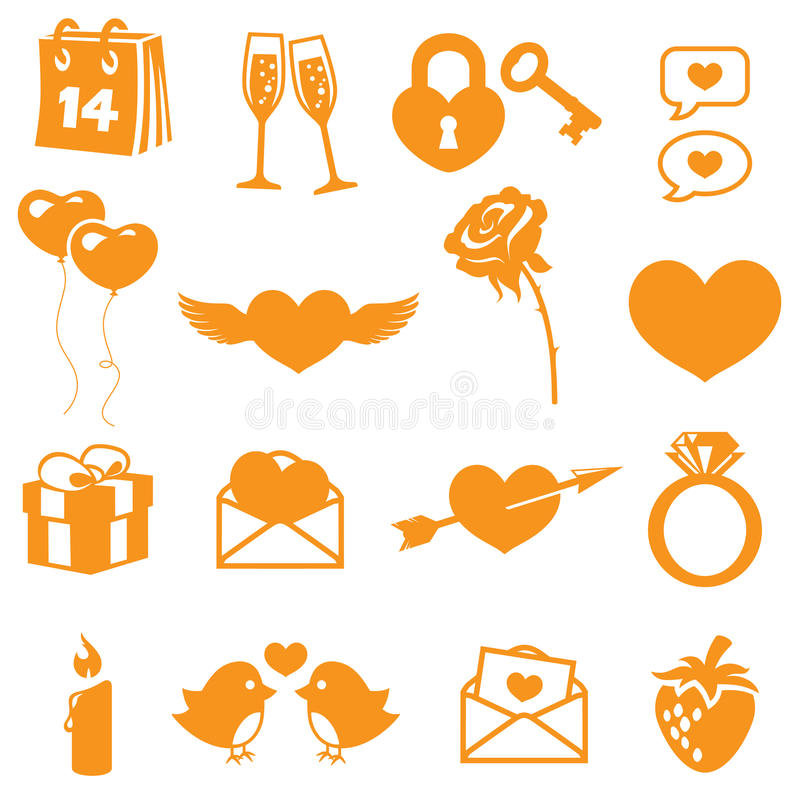 Icone dei biglietti di S. Valentino illustrazione vettoriale
