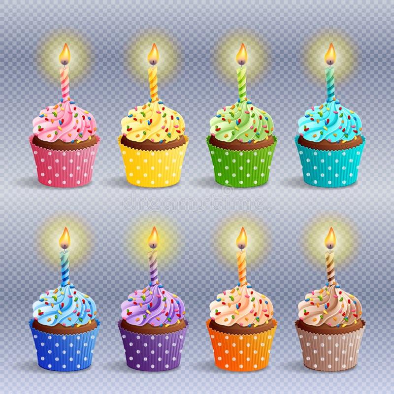Icone dei bigné di compleanno illustrazione vettoriale