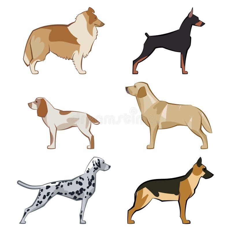 Icone dei cani impostate illustrazione di stock