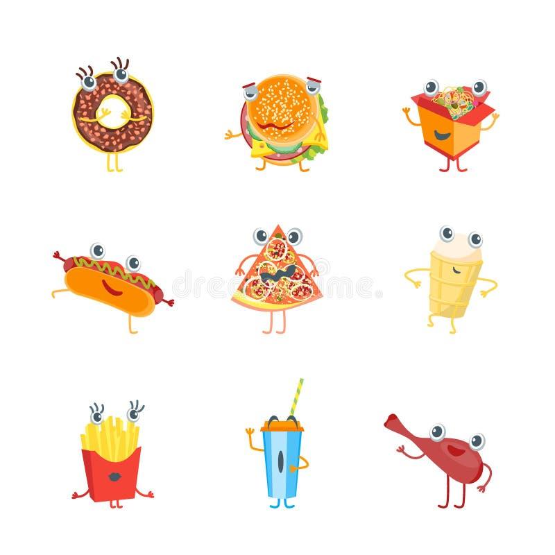 Icone dei caratteri degli alimenti a rapida preparazione di colore del fumetto messe Vettore illustrazione di stock