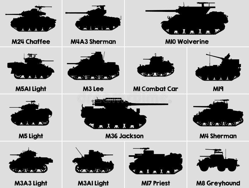 Icone dei carri armati degli Stati Uniti illustrazione vettoriale