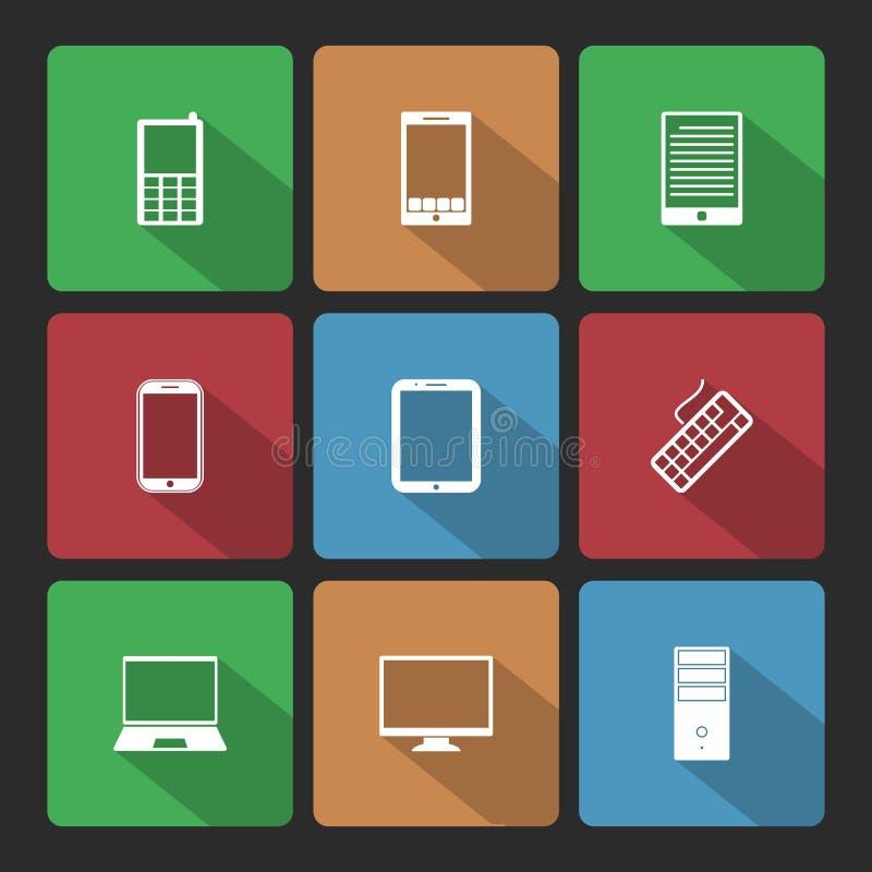 Icone dei computer e del cellulare messe con ombra lunga illustrazione di stock