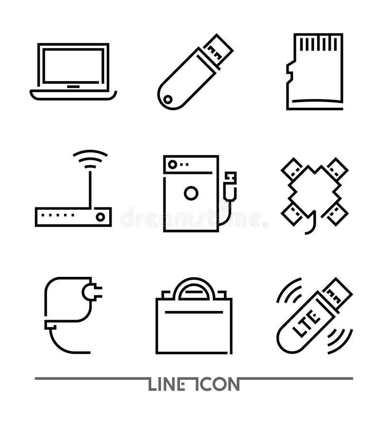 Icone dei dispositivi del computer Gli accessori del PC assottigliano la linea vettore illustrazione vettoriale