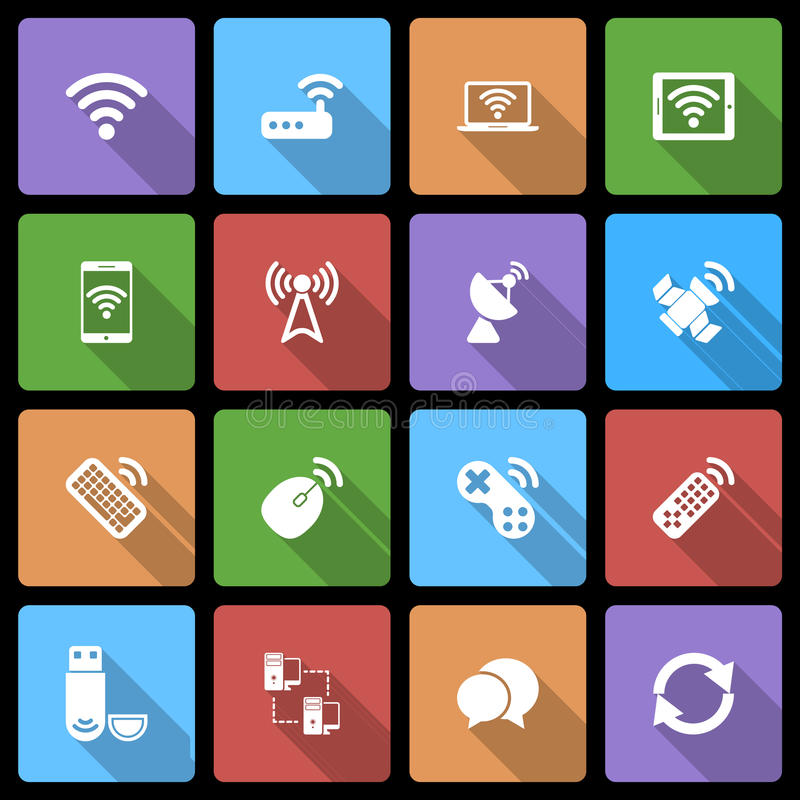 Icone dei dispositivi wireless messe con ombra lunga illustrazione di stock