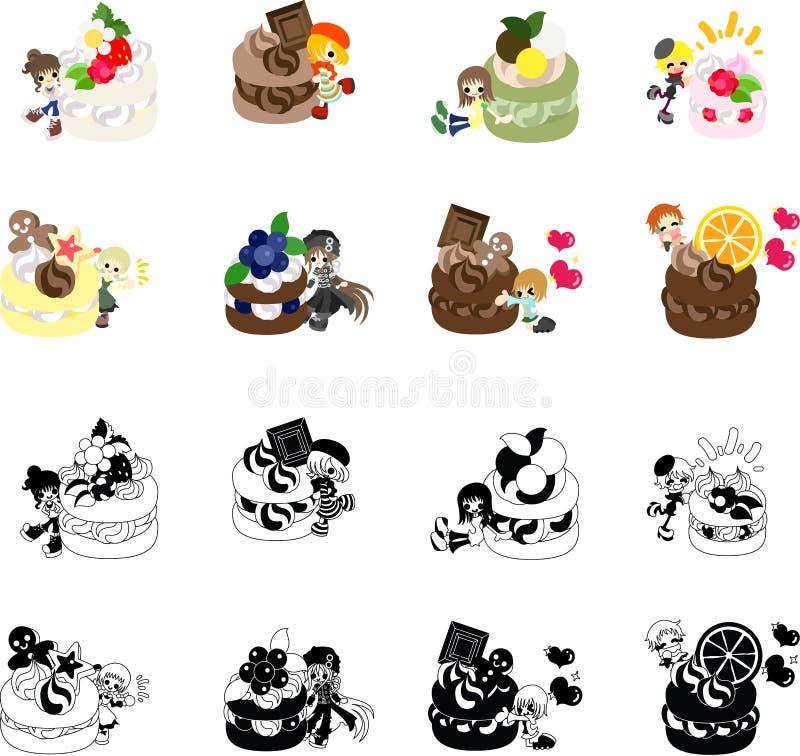 Icone dei dolci e di piccola gente illustrazione vettoriale