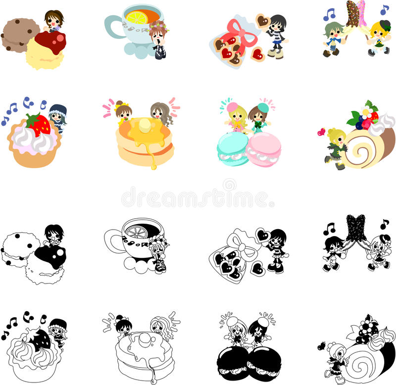 Icone dei dolci e di piccola gente illustrazione di stock