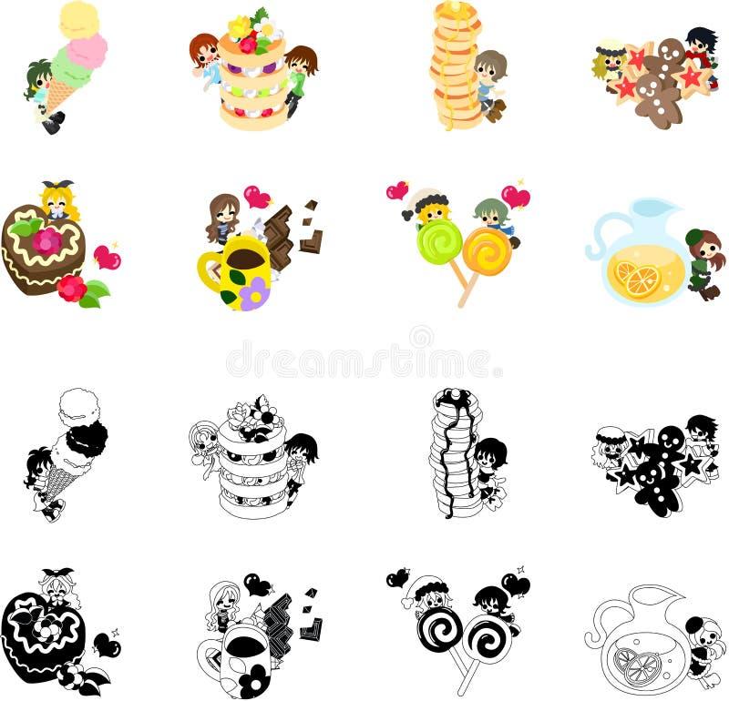 Icone dei dolci e di piccola gente royalty illustrazione gratis