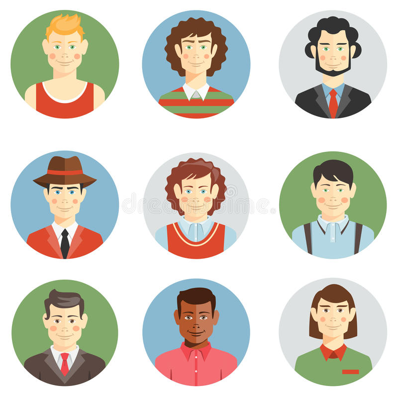 Icone dei fronti degli uomini e dei ragazzi nello stile piano royalty illustrazione gratis