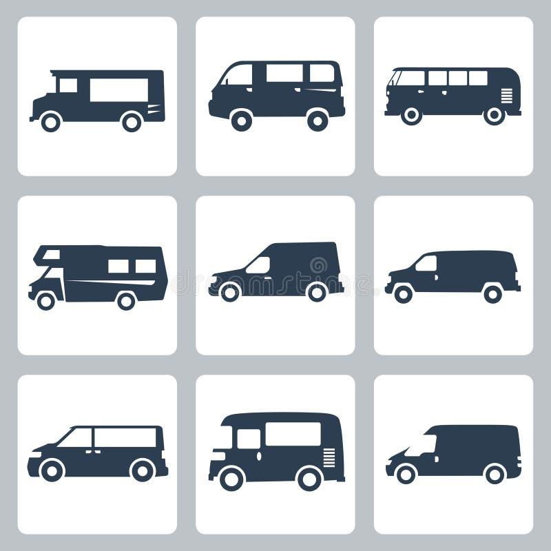 Icone dei furgoni di vettore (vista laterale) messe illustrazione di stock