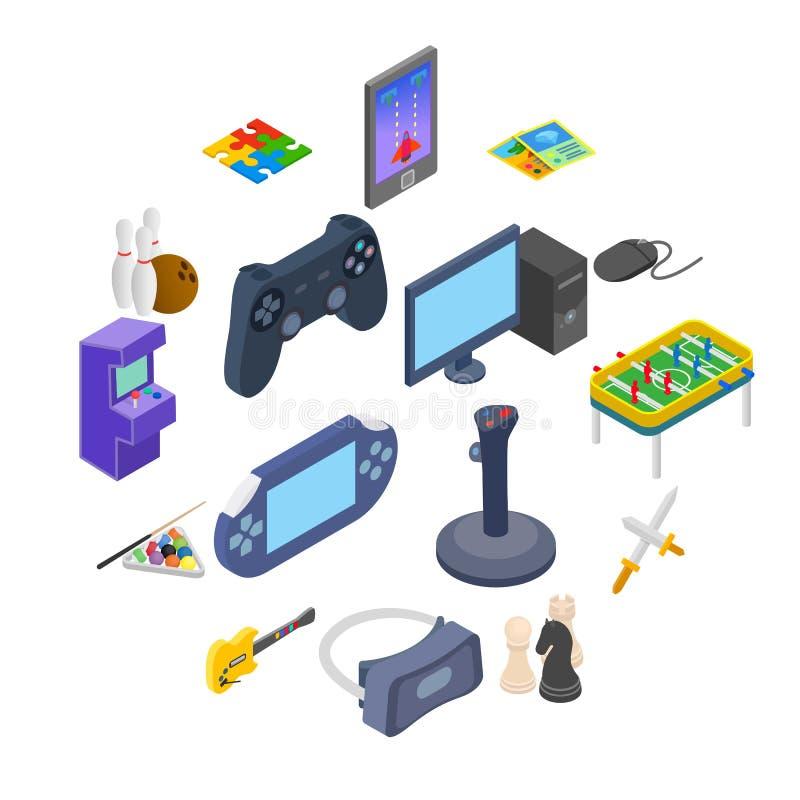Icone dei giochi messe illustrazione di stock