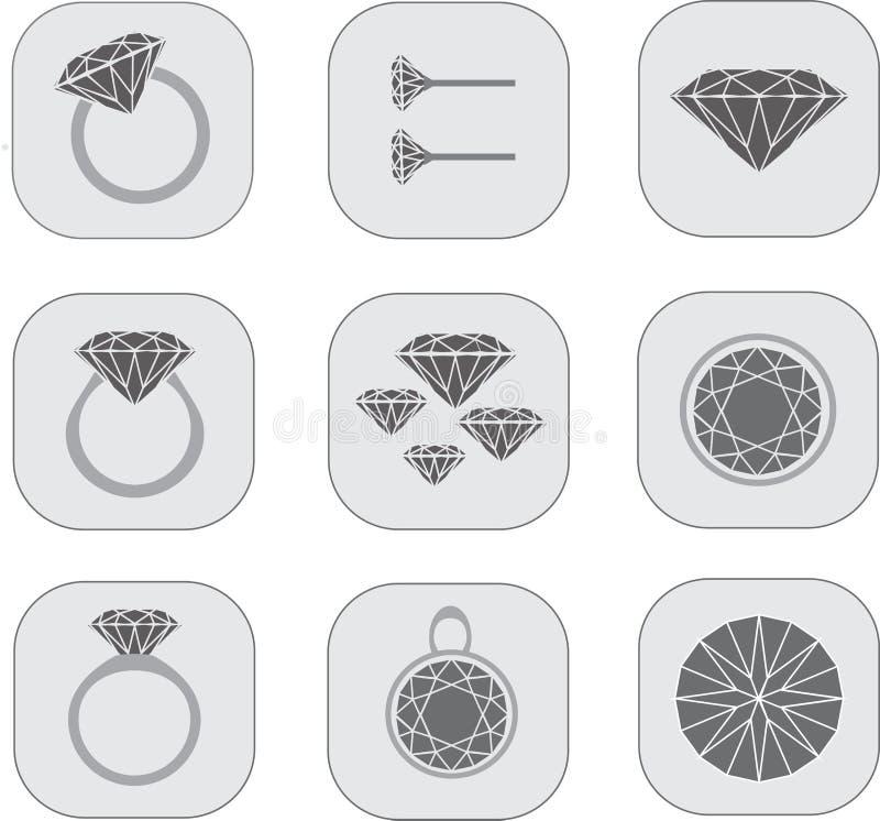 Icone dei gioielli del diamante fotografie stock libere da diritti
